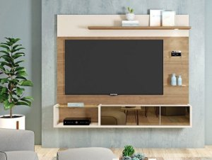 Painel Para TV Até 65 Polegadas Aurien Buriti/Off White