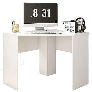 Mesa De Computador Canto Office Cubic Branco Fosco - Caemmun