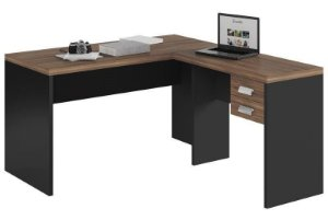 Mesa Office 1360/900 com Gaveteiro Studio Argan/PretoTex