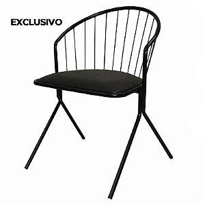 Cadeira Aramis Decorativa Preta - Overseas