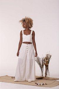 Calça Pantalona Branca Alento - Algodão Orgânico