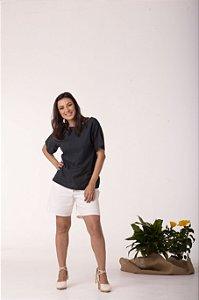 Camisa Preta Manga Curta Conforto - Algodão Orgânico
