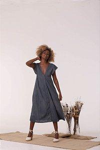 Vestido Midi Azul Respiro - Algodão Orgânico
