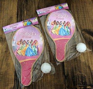 Kit Raquetes ping pong, tema Princesas da Disney
