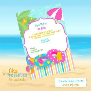 Convite digital, tema Pool Party, Festa na Piscina