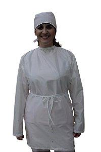Avental Ágata em tecido antiviral unissex, Delfim Protect (tipo cirúrgico), manga longa com elástico tamanho único