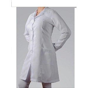 Jaleco Calcita feminino, cinturado, em oxford, manga longa, branco