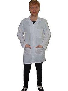 Jaleco Painita masculino em oxford, manga longa, branco