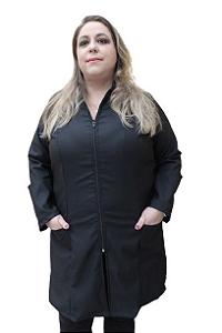 Jaleco Nacar feminino, gola padre, faixa de amarrar atrás proporciona um ajuste a cintura