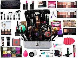 Maleta De Maquiagem Completa Com Pinceis E Paleta De Glitter