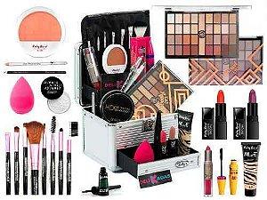 Maleta De Maquiagem Completa 32 Sombras Ruby Rose Mais Blush