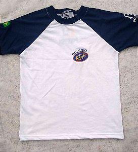 Camiseta manga curta, branca e azul, Ceus