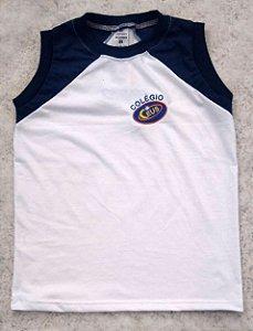 Camiseta regata, branca e azul, Ceus