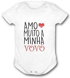 Body de bebê - Frases - Amo muito minha Vovó