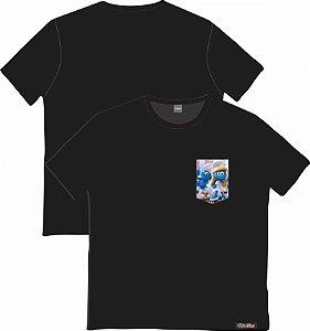 Camiseta com Bolso Personalizados - Os Smurfs