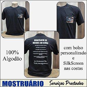Camiseta 100% algodão com bolso personalizado e Silkscreen