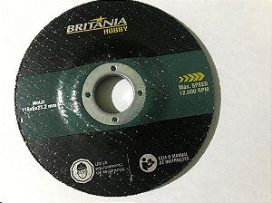 Disco Desbaste 115mm Britania Hobby para Metal medidas 115x6x22.2mm