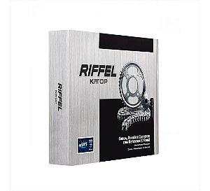 Kit relação/Transmissão Cg 150, 160 Titan/fan/cargo/start/ks Com Retentor Riffel aço 1045 ano compatível 2004 á 2018+brinde+ frete grátis