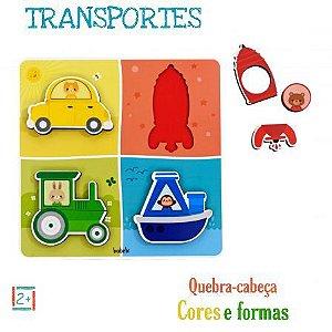Quebra-cabeça de encaixe transportes, cores e formas 2+