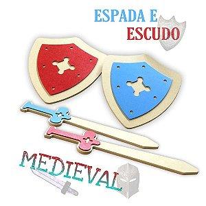 Kit Espada E Escudo Medieval - 2+