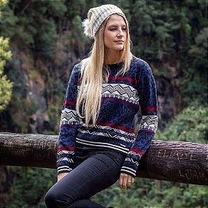 Suéter Feminino de Tricot Jacquard Animal Print