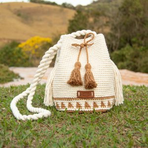 Bolsa Saco de Crochê com Alça de Corda Equilíbrio