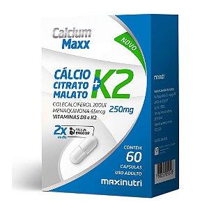 Calcium Maxx e Vitamina K2  60 Cápsulas MAXiNUTRI ***VÁLIDADE 10/2020***
