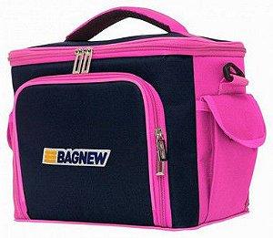 Bolsa Térmica Média BagNew Azul com Rosa