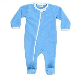 Macacão Ziper Azul Bebe e Branco Soft Tamanho P De 1 até 3 Meses