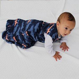 Saco de Dormir Baby Verão Moletinho Algodão Ziper Invertido Tubarão
