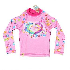Camiseta infantil Proteção Solar FPS 50+ Festa dos Golfinhos