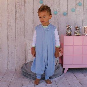 Saco de Dormir Primeiros Passinhos Azul Algodão Premium Ziper 1 até 3 Anos