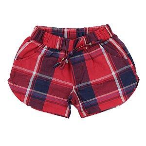 Shorts Feminino Xadrez Vermelho TAM 3 e 4