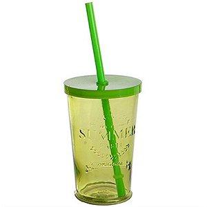 Copo de Vidro com Tampa e Canudo - 240 ml - Verde