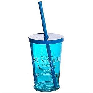 Copo de Vidro com Tampa e Canudo - 240 ml - Azul