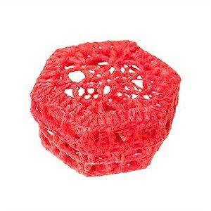 Mini Caixinha Sextavada de Crochê - Vermelha