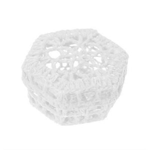 Mini Caixinha Sextavada de Crochê - Branca