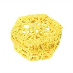 Mini Caixinha Sextavada de Crochê - Amarela