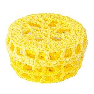 Mini Caixinha Redonda de Crochê para Lembrancinha - Amarela