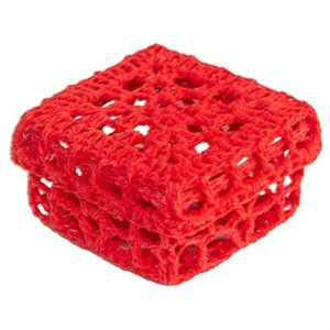 Mini Caixinha Quadrada de Crochê para Lembrancinha - Vermelha