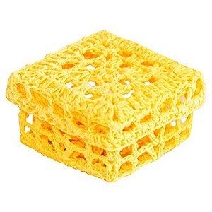 Mini Caixinha Quadrada de Crochê para Lembrancinha - Amarela