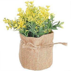 Vaso Decorativo de Flor Artificial Amarela - Com Saquinho de Linho
