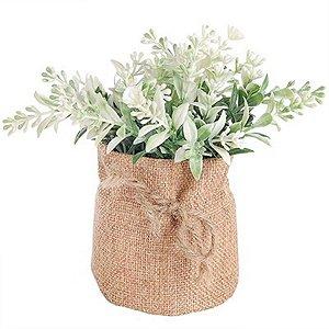 Vaso Decorativo de Flor Artificial Branca - Com Saquinho de Linho