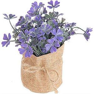 Vaso Decorativo de Flor Artificial Lavanda - Com Saquinho de Linho