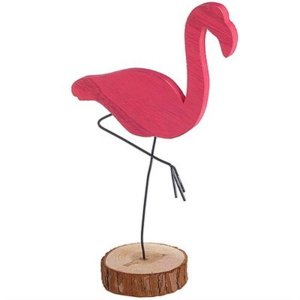Flamingo Grande em Madeira para Decoração - 29,5 cm