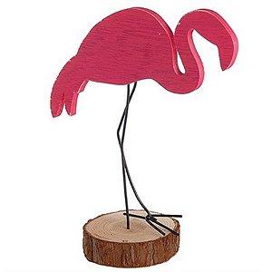 Flamingo Médio em Madeira para Decoração - 21 cm