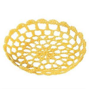 Bandeja Redonda Pequena em Crochê para Decoração - Amarela