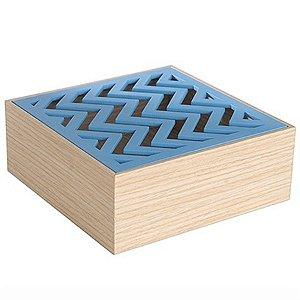 Caixa Quadrada para Decoração Chevron Azul - 15 cm