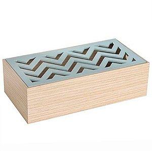 Caixa Retangular para Decoração Chevron Verde - 10 x 20 cm