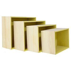 Kit de Suporte Quadrado Amarelo para Decoração - 4 peças